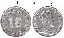Изображение Монеты Стрейтс-Сеттльмент 10 центов 1908 Серебро XF Эдуард VII