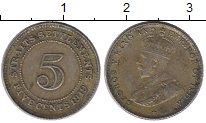 Изображение Монеты Стрейтс-Сеттльмент 5 центов 1919 Медно-никель XF