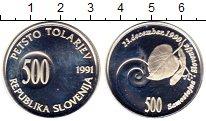Изображение Монеты Европа Словения 500 толаров 1991 Серебро Proof