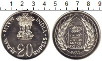 Изображение Монеты Индия 20 рупий 1973 Серебро UNC- ФАО