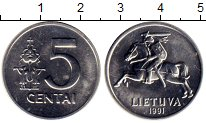 Изображение Монеты Литва 5 сенти 1991 Алюминий UNC-