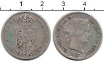 Изображение Монеты Испания 40 сентим 1867 Серебро XF- Изабелла II