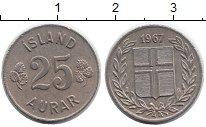 Изображение Монеты Исландия 25 аурар 1967 Медно-никель XF