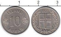 Изображение Монеты Европа Исландия 10 аурар 1958 Медно-никель XF