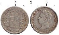 Изображение Монеты Европа Испания 50 сентим 1904 Серебро XF