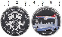 Изображение Монеты Того 1000 франков 2001 Серебро Proof История авиации,само