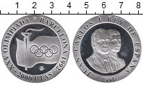 Изображение Монеты Европа Испания 2000 песет 1991 Серебро Proof-