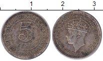 Изображение Монеты Малайя 5 центов 1941 Серебро XF