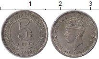 Изображение Монеты Малайя 5 центов 1945 Серебро XF