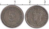 Изображение Монеты Малайя 5 центов 1945 Серебро XF Георг VI