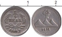 Изображение Монеты Северная Америка Гватемала 1/4 реала 1874 Серебро XF