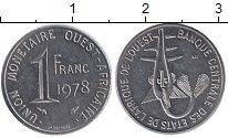 Изображение Монеты Западная Африка 1 франк 1978 Медно-никель XF Золотая гиря народа