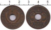 Изображение Монеты Великобритания Восточная Африка 5 центов 1937 Медь XF