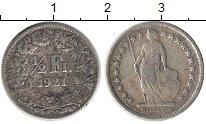 Изображение Монеты Европа Швейцария 1/2 франка 1921 Серебро XF
