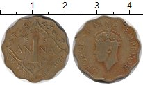 Изображение Монеты Азия Индия 1 анна 1944 Латунь XF