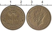 Изображение Монеты Западная Африка 1 шиллинг 1939 Латунь VF