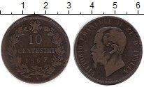 Изображение Монеты Европа Италия 10 сентесим 1867 Бронза VF