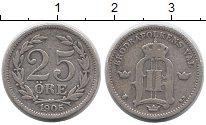 Изображение Монеты Европа Швеция 25 эре 1905 Серебро XF-