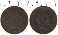 Изображение Монеты Европа Испания 10 сентим 1879 Медь VF