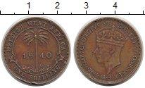 Изображение Монеты Западная Африка 1 шиллинг 1940 Латунь XF Георг VI