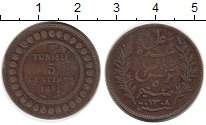 Изображение Монеты Африка Тунис 5 сантим 1891 Бронза VF