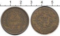 Изображение Монеты Африка Тунис 2 франка 1941 Латунь XF