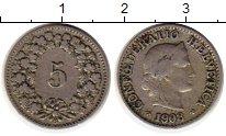 Изображение Монеты Европа Швейцария 5 рапп 1908 Медно-никель XF