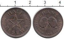 Изображение Монеты Африка Гана 1/2 песева 1967 Бронза UNC-