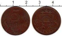 Изображение Монеты Европа Латвия 5 сантим 1922 Бронза XF-