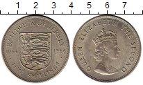 Изображение Монеты Остров Джерси 5 шиллингов 1966 Медно-никель UNC-