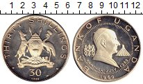 Изображение Монеты Уганда 30 шиллингов 1969 Серебро Proof-