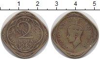 Изображение Монеты Индия 2 анны 1943 Латунь VF Георг VI