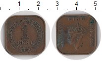 Изображение Монеты Малайя 1 цент 1939 Бронза XF- Георг VI. Монета нес