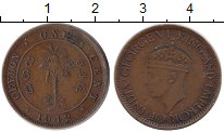 Изображение Монеты Цейлон 1 цент 1942 Бронза XF Георг VI. Пальма