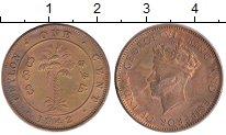 Изображение Монеты Цейлон 1 цент 1942 Бронза VF Георг VI. Пальма