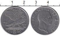 Изображение Монеты Италия 50 сентесим 1940 Медно-никель XF Орел, Виктор Эммануи