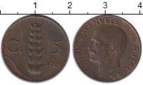 Изображение Монеты Европа Италия 5 сентесим 1929 Бронза XF