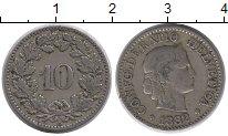 Изображение Монеты Европа Швейцария 10 рапп 1882 Медно-никель XF