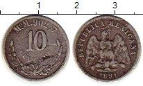 Изображение Монеты Мексика 10 сентаво 1891 Серебро XF- Солнце, Орел