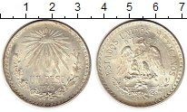 Изображение Монеты Мексика 1 песо 1945 Серебро XF+ Солнце