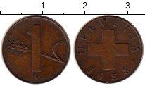 Изображение Монеты Швейцария 1 рапп 1958 Бронза XF