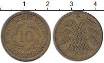 Изображение Монеты Веймарская республика 10 пфеннигов 1925 Латунь XF