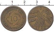 Изображение Монеты Веймарская республика 10 пфеннигов 1924 Латунь XF J