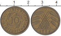 Изображение Монеты Веймарская республика 10 пфеннигов 1924 Латунь XF