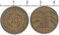 Изображение Монеты Веймарская республика 10 пфеннигов 1924 Латунь XF F