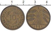 Изображение Монеты Германия Веймарская республика 10 пфеннигов 1924 Латунь XF