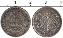 Изображение Монеты Германия 1/2 марки 1919 Серебро XF E