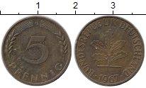 Изображение Монеты Германия ФРГ 5 пфеннигов 1967 Латунь XF