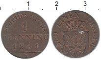 Изображение Монеты Пруссия 1 пфенниг 1821 Медь XF+