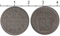 Изображение Монеты Гессен-Дармштадт 6 крейцеров 1854 Серебро XF